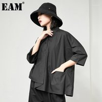 [EAM] Женская блузка Новый отворот 3 квартала большой размер нерегулярной рукава свободных подходит рубашка мода прилив весна осень 2020 1db3561