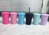 16oz fosco tumblers acrílicos com tampas coloridas canudos coloridos Curto gordura de plástico esportes garrafas de água dupla parede bebendo copos de leite A12