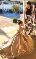 Robes de filles de fleurs de dentelle dorée de luxe pour la fête de mariage