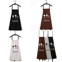 70 cm Cocina para adultos Delantales 3 Color Cocinar Limpieza Daidele Lace Up Bolsillo Carta Impresión Pinafore Mujer Hombre Impermeable 4 4lx G2