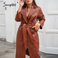 Simplee elegante marrón abrigo largo de cuero con cinturón Faux PU abrigo de cuero chaqueta de mujer oficina mujer otoño otoño invierno thrench abrigo 201209