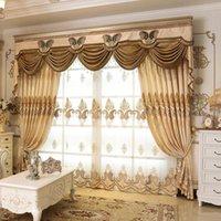 Rideau draps Fyfuyoufy Velvet de haute qualité pour salon floral brodé tulle rideaux de chambre à coucher Stripe Blackout
