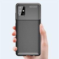 Para Samsung Galaxy A01 A11 A21 A31 A41 A51 A71 5G A81 A91 Caso Carbono Fibra TPU Bumper Capa Para Samsung A21S A42