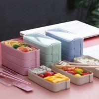 Multi-stöckige Lunchbox Student Assemble Anzug Geschirrschließe Verschlussdichtung Abendessen Eimer Kunststoff Student Home Küche Bento Rechteck 7 5lm L2