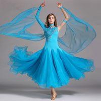 Palco desgaste adulto mulheres vestido de salão senhora flamenco latin tango dançando grande saia balanço fios de diamão trajes de festa dancewear para menina