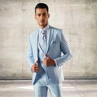 Últimas Pants Brasão Designs italiana Light Blue Men Suit Slim Fit 3 peças Groom Tuxedo personalizado Moda Prom Blazer Terno masculino