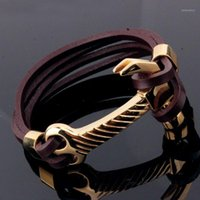 Venta caliente de acero inoxidable negro de cuero genuino martillo de diseño de la cadena de la pulsera joyería del niño de los hombres1