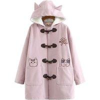 Warm Winter Hooded Jacket For Women Cartoon Cat Embroidery Woolen Pocket Coats Horn Buckle Long Coat Thick Outwear