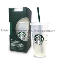 Sıcak 24oz Tumblers Plastik Içme Suyu Bardak Dudak Ve Saman Ile Sihirli Kahve Kupa Kostam Starbucks Plastik Şeffaf Kupası