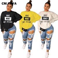 CM.YAYA Kadınlar Sonbahar Kış Para Kazanmak Arkadaşım Baskı Kazak Tops Streetwear Moda Uzun Kollu Klasik Kazak Hoodies