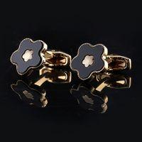 Gemelos de oro para hombre Boda de lujo fiesta de lujo camisa French Link Men Flor Flor Gemelo de alta calidad