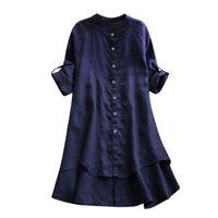 2XL plus größe casual lose blusen damen leinen soild farbe knopf tops langarm shirts o-neck damen top 2021 roupas feminina1