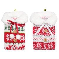 Рождественские винные крышка с луком лося снежинки вязание бутылка для бутылки вина бутылка крышка Xmas винный мешок рождественские украшения орнамента CCA2765