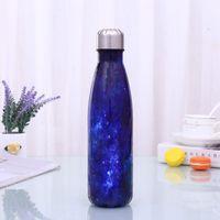 Sternenhimmel cola förmige wasserflasche vakuum isoliert outdoor flasche edelstahl doppelwand colke form wasser cup meer versand owe2970