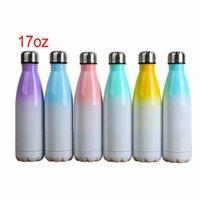 17oz Sublimação Cola pode DIY 500ml garrafa de água térmica de parede dupla aço inoxidável de aço de cola tumblers isolados vácuo com tampa