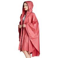 Yuding 1pc seis colores lisos de buena calidad adulto impermeable hombres con capucha capucha capa de lluvia capa mujer trinchera lluvia poncho con bolso J1211