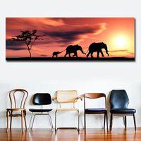 Impreso moderno estilo africano paisaje pintura al óleo sobre lienzo One Piece Imagen de la pared para la habitación del dormitorio Quadro Home Decor1