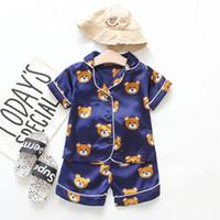 Novo verão pijama de crianças sets meninos meninas cartoon urso home desgaste kids two-peça conjunto de mangas curtas terno criança roupa de casa varejo