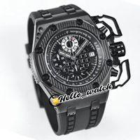 JFF New PVD PVD Processo CNC CNC ETA A7750 26165 Automático Cronógrafo Mens relógio Preto Textura Dial Stopwatch Borracha Esporte Olá_Watch