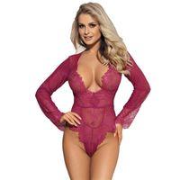 Jumpseau pour femmes Rompers Housse à manches longues Costume Creux Selling Teddy Sexy Femmes Romper Dentelle Mesh Plus Taille 5XL Floral Body Col V