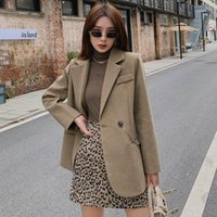 Laine de femme mélanges JXMYY 2021 Automne et hiver Style coréen Chaîne simple Chaîne Lâche Wild Wild manteau de laine de tempérament haut de gamme.