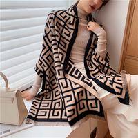 2020 Luxo Lenço de Inverno Mulheres Pashmina Xaile Senhora Impressão Design Cobertor Cobertor Feminino Cachecóis Grossas LJ201221