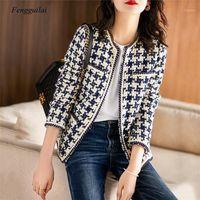 Plaid Tweed Jacken Frauen Oansatz Langarm Büro Dame Wollmäntel Herbst Winter Outwear Vintage Koreanische Elegante Plus Size1