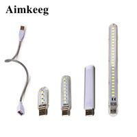 Mini USB LED Lâmpada De Mesa Portátil Leitura Luz 3 8 12 24LEDS Livro Luzes Noite para Camping Power Bank Notebook