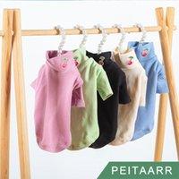 개암 [Peitaarr] 애완 동물 의류 Turtleneck 바닥 셔츠 순수한 면화 가을 겨울 유지 따뜻한 사탕 색 체리 강아지 작은 개 고양이