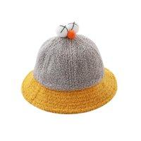 حافة واسعة القبعات دلو قبعة الطفل لطيف الأطفال الصوف الضام الصوف في الكرتون السمسم عيون كبيرة وعاء دافئ