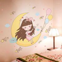 [Shijuekongjian] Pegatinas de la pared de la niña de dibujos animados DIY Stars Moon Globos Mural Calcomanías para niños Habitaciones Dormitorio de bebé Decoración de la casa1