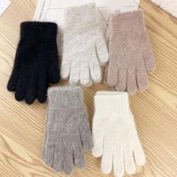 Cinq doigts Gants Femmes à la mode Laine hiver Hommes tricotés épaissie et velours mitaines élastiques à pied complet cyclisme conduite au chaud