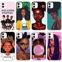 iPhone 11 12 12 برو 7 6 6 ثانية 8 زائد x xs xr ماكس الحالات شخصية الميلانين بوبين أسود فتاة الحالات حماية الهاتف المحمول
