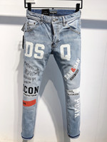 DSQ Phantom Tortue Classic Fashion Homme Jeans Hip Hop Rock Moto Mens Décontracté Design Décontracté Jeans Détresse Skinny Denim Biker DSQ Jeans 2039
