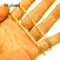 سلاسل Jhplated المعادن واسعة 3.8 ملليمتر طول 45 سنتيمتر القلائد النساء / الرجال، للنساء مجوهرات الذهب اللون العربية Jewelry1