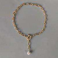 Punk Cuivre Placant Gold-Color Chain Collier Fashion Naturel Perle Pendentif Bijoux Bijoux Handmade Barbineuse brillante Embellissement Y1220