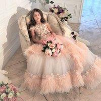 Luxus Feder Spitze Kleinkind Mädchen Pageant Kleider Appliqued Jewel Hals Perlen Ball Kleid Tiered Blume Mädchen Kleid Sweep Zug Kid Prom Kleider