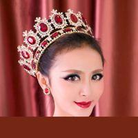 Crown Princess Breide Dimand Crystal Head Ювелирные Изделия Королева Свадьба Барочная Свадебная Корона Tiaras / Короны Белый Красный Синий Грин для вариантов