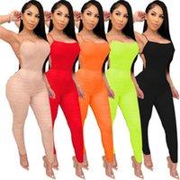 Женщины Йога Складки Длинные Rompers Мода Trend Trend Color Color Бедные Узкие комбинезоны Санкты Женские Новые Средние Талия Стройные Спортивные Комплекты Одежда