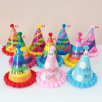 Cumpleaños sombreros niños adulto cumpleaños fiesta decoraciones sombrero feliz cumpleaños arco iris sombrero de fiesta sombreros 12.5 * 20cm HH21-60