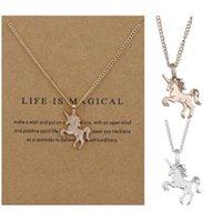 Collares colgantes del unicornio de color dorado de plata para las mujeres collar de cadena de gargantilla de encanto de caballo lindo con tarjeta de regalo