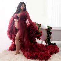 Borgoña Mujer Noche Robe Boda Boda Novia Dama de honor Robas Seda Satén Encaje Ropa de dormir Pijamas Liberías largas Brida Partido Ducha Robe