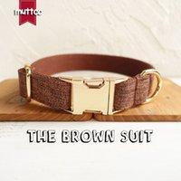 Collier de chien de haute qualité à la main à la main de MutTCO Collier de chien de haute qualité comme gentleman Le collier de costume brun 5 tailles LJ201109