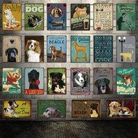 2021 Règles de chien drôle conçue Bouledogue BeaGle Great Dane Metal Sign affiche de l'étain Accueil Décor Salon Salon Barre Art mural Peinture 20 * 30 cm