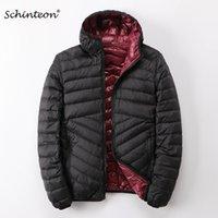 Schinteon Men Белая утка вниз куртка ультра легкое тонкое пальто с капюшоном две стороны носить верхнюю одежду новый 201130