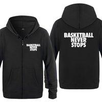 Basketball n'arrête jamais que les sweats à capuche à capuche à capuche de lettre 2020 pour hommes Cardigans à capuche à capuche