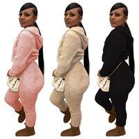 Damen-Winter-Trainingsanzug doppelseitig Fleece-Kapuzenpulloberhosen-Hosen 2pcs Sets Sweatsuit-Jacken Leggings-Outfits-Zip-Kragen-Sportanzug G11402