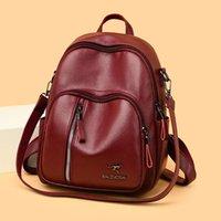 أنيقة كبيرة الحجم ليتشي نمط حقيبة الظهر ترف النساء بو الجلود حقيبة الظهر أنثى كبير متعدد جيب لون الصلبة السفر Backbag A1113