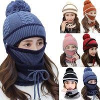2020 новые 3 штуки набор женской вязаной шапки шарф шапки теплые шеи черепные шапки для дамы шапочки шляпа флис девушки теплая win w4n2