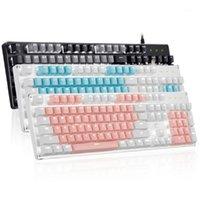 Combos do mouse do teclado ajustados com luminoso branco USB com fio de jogo combo mecânico para o interruptor azul do jogador de PC 104keys Keyboard1